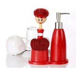 Dozownik do płynu do mycia naczyń plastikowy ze szczotką i gąbką vigar