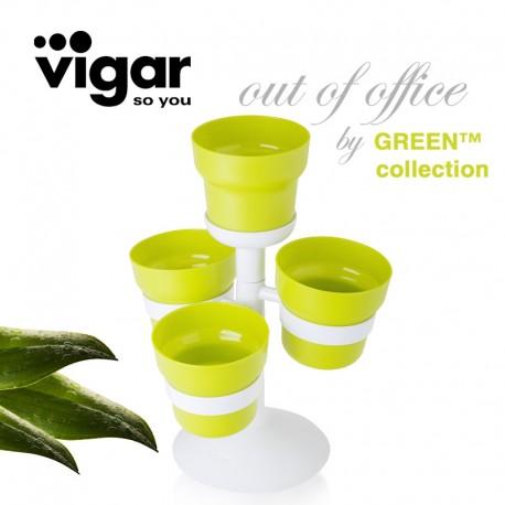 Zestaw 4 doniczek na zioła na stojaku vigar