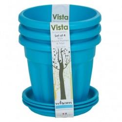 Zestaw 3–15 cm doniczek Vista ze spodeczkami