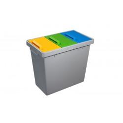 Trzykomorowy kosz do segragacji odpadów  40 L